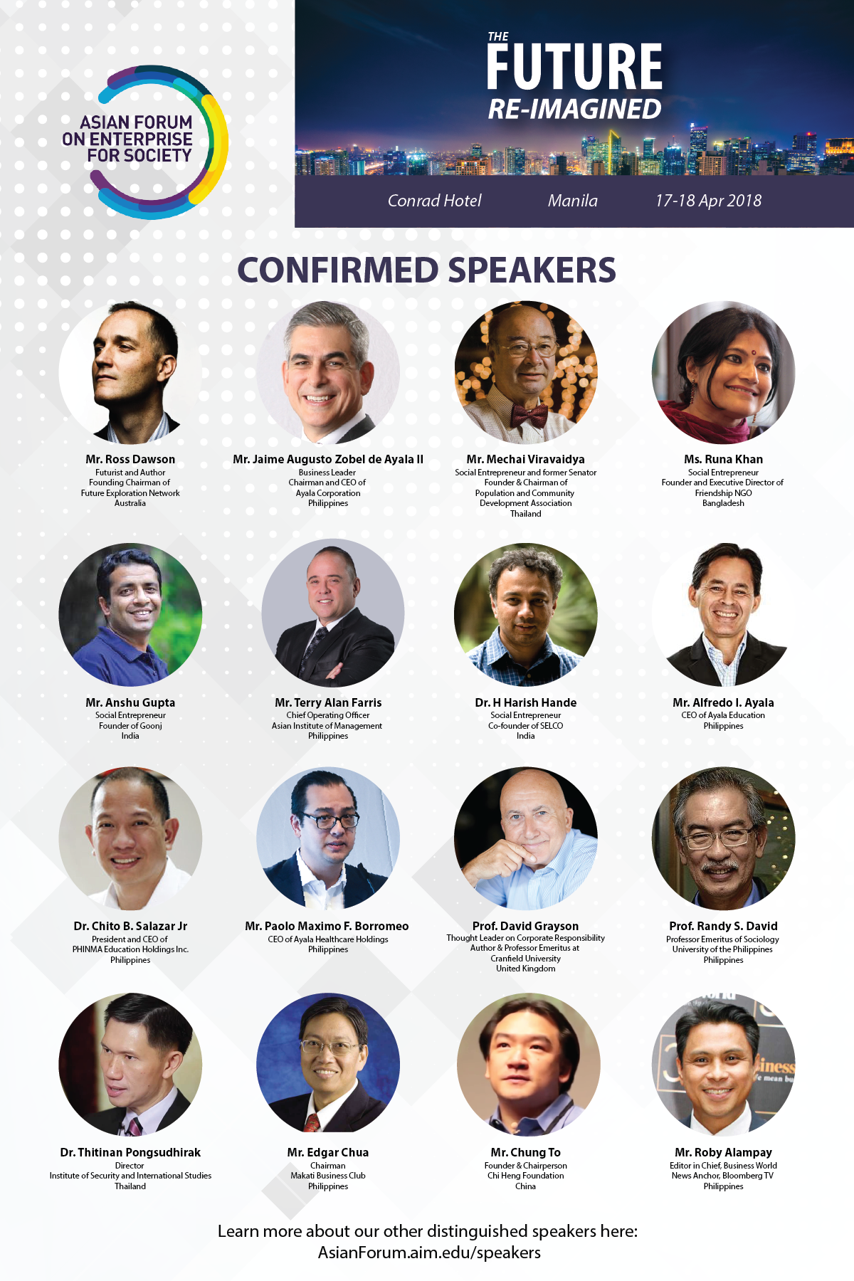 We are pleased to announce our distinguished list of speakers for the 2018 Asian  Forum on Enterprise for Society. Our lineup includes business leaders, ...